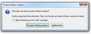 Firefox 3.6.8 Privaten Modus starten - Bestätigung