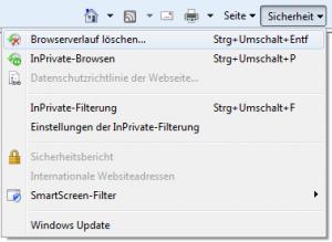 Internet Explorer 8.0 Menüpunkt Sicherheit