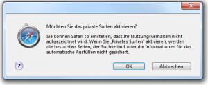 Safari 5.0.1 Privates Surfen Bestätigen