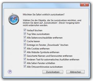 Safari 5.0.1 zurücksetzen