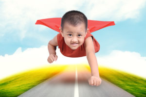superhero boy child flying